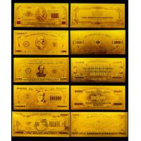 24k Gold Engrave Banknote , Full SET gold plated 100 Dollar Bill