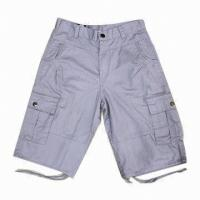2016 New Stylish Men's Gray Cargo Shorts, Made of 100% Cotton Material