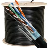 Wholesale 300 Volts UTP CAT5E Cable with Zinned Steel Messenger 24 AWG Black for Security Camera from china suppliers
