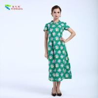 Wholesale Green Sexy Women Floral Cheongsam Qipao Dress Cotton Blend Fabric For Party from china suppliers