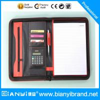 Wholesale PU Leather portfolio with handle and zipper,CD pocket from china suppliers