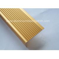 Wholesale Solid Anodized Brass Aluminum Stair Nosing Profiles , Metal Stair Nosing For Wood Stairs from china suppliers