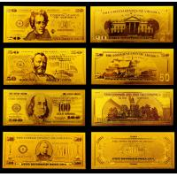 China America Gold Engrave Banknote , Value Collection Golden Dollar Bills on sale