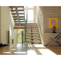 Wholesale Center stringer U-shape staircase straight staircase with wooden tread from china suppliers
