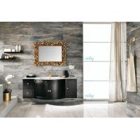 Wholesale High Level All Wood Vanity , Black Wood Bathroom Vanity With White Marble Countertops from china suppliers