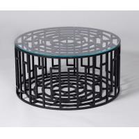 Wholesale Black Metal Base Living Room Coffee Table With Clear Tempered Glass from china suppliers