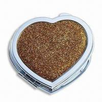 China Heart-shaped Double-sided Makeup Mirror, Made of Metal Material, Sized 72 x 70 x 13mm on sale