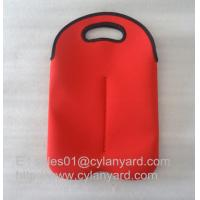 Wholesale Neoprene wine bottle cooler handbag 2 bottle pack, neoprene bottle cooler sleeve, from china suppliers