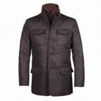 Wholesale Men's Winter Jacket, Made of Polyester Pongee, Cold-proof Detachable Inside Placket, Fine Making from china suppliers