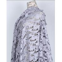 100% Cotton Fiber Water Soluble Embroidery   Fabric with Lace applique  Black Ivory Double Color