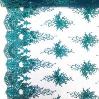 Wholesale Green Color Teal Spirit Floral Bridal Beaded Lace Fabric On Mesh 100% Polyester from china suppliers