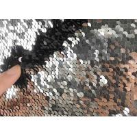 Buy cheap 5mm Reversible Sequin Fabric / Two Tone Sequin Fabric Satin Black Table Cloth from wholesalers
