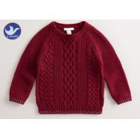 Wholesale Multi Cable Knitting Girls Long Sleeve Sweaters , Girls Red SweaterSide Slit from china suppliers
