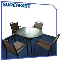 China Outdoor Garden 5pc Patio Bistro Set Sling Dining Set Water Waved Glass Top Table on sale