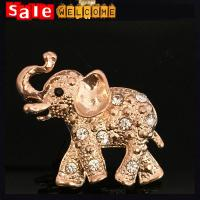 China Clothes Sweater Accessories Big Animal Crystal Brooch,Golden Elephant Brooch for Women Gir on sale