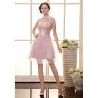 China Sexy Lace Beaded Girls Tulle Celebrities Evening Dresses for Cocktail Party , Knee Length on sale
