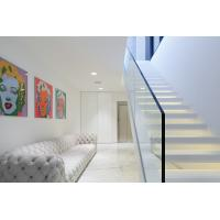 Wholesale Inside white Straight staircase wooden stair with customized design from china suppliers