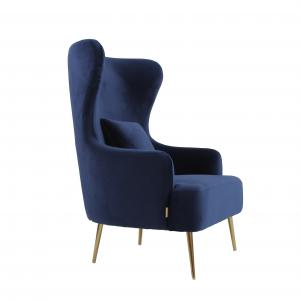 Wholesale 2021 Modern Hotel Velvet Fabric Upholstered Single Sofa Chair With Metal Leg from china suppliers