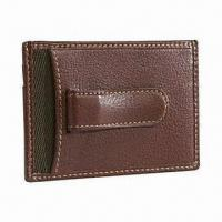 China Brown Leather Money Clip, Available in Various Designs/Materials/Sizes, OEM and ODM Orders Welcomed on sale