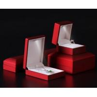 Wholesale Logo Foiled Plastic Jewellery Box , Wedding Ring Box With Light Long Plush Insert from china suppliers