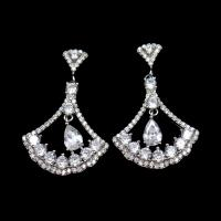 Wholesale Triangle Shape Silver Cubic Zirconia Drop Earrings Charm / Vintage Jewelry from china suppliers
