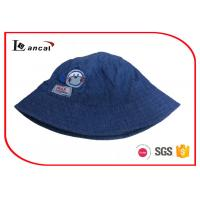 Buy cheap Navy Chambray Cool Bucket Hats With Applique And Woven Label For Boys from Wholesalers