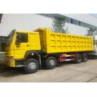 China HOWO 8x4 Heavy Duty Dump Truck , LHD Sinotruk Tipper Truck Yellow Color on sale