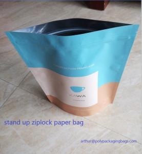 Dry Food Foil Ziplock Bags / Craft Paper Bags With Gravure Printing