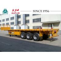 Wholesale 40 Tons 3 Axle Semi Flatbed Trailer , Flat Deck Trailer With Front Wall from china suppliers