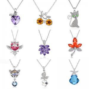 beautiful in colors deft design  silver flower/apple/deer/wolf/dolphin shapes zircon pendant necklace