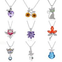 Quality beautiful in colors deft design  silver flower/apple/deer/wolf/dolphin shapes zircon pendant necklace for sale