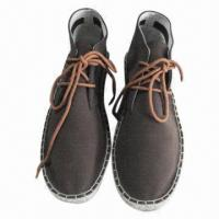 Wholesale Fashionable Men's Flat Espadrilles with Genuine Leather or Canvas Upper, Rubber Outsole from china suppliers