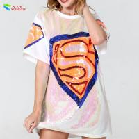 Buy cheap White Color Diamond Womens Sequin Clothing Jersey Mini T Shirt Dress from wholesalers