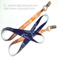 Wholesale Flat sublimation lanyard with bulldog clip, dye sub lanyard with metal sheet crimp from china suppliers