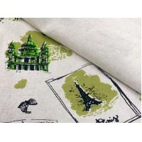 55/45 LINEN COTTON FABRIC BLENDED WITH SCREEN PRINTED     CWT#5254