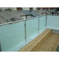 Wholesale Hot sale frosted glass panel glass balustrade with inox baluster post design from china suppliers