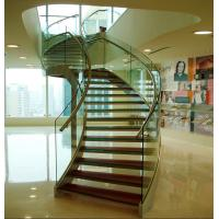 Wholesale Stainless steel curved glass staircase indoor glass stairs from china suppliers