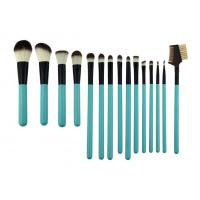 Wholesale Cosmetic Green Professional 15 Piece Makeup Brush Set Wih Synthetic Hair from china suppliers