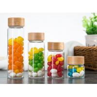 Wholesale 500ml Glass Storage Jars With Wood Lid / Transparent Glass Candy Jars In Bulk from china suppliers