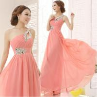 Wholesale Lovely Pink Beaded A-line One-Shoulder Lace-up Chiffon Long Homecoming Dress Girls Formal Dress from china suppliers