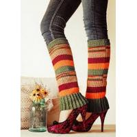 Wholesale Muti Color Knitted Leg Warmer , Pretty Striped Winter Leg Warmer from china suppliers