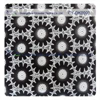 Quality Fashion Big Black Floral Cotton Lace Fabric , 50% Cotton 50% Polyester for sale