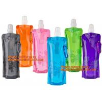 Spouted flexible foldable water bag with carabiner for running, flexible printing and lami