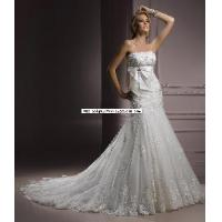Wholesale Bow Sash Tulle Lace Beading Custom 2012 Bridal Wedding Gown (WD10052) from china suppliers