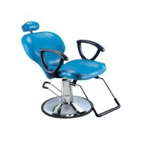 Light Blue Salon Barber Chair Artificial With Manual Lifting , Tilted Footrest