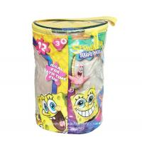 Wholesale Round Spongebob Theme Toy Bricks Blocks Zipper Storage Bags for Children Building Blocks with handle from china suppliers