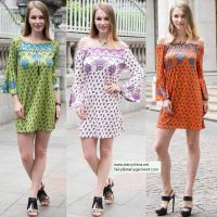 Buy cheap sexy printed flower short dress for women in long flounce sleeve with off the shoulder from Wholesalers