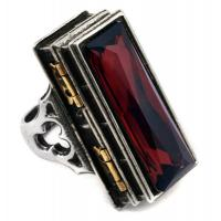 China Sterling Silver 925 Silver Jewelry Rings , Vintage Ruby Red Fashion Poison Ring on sale