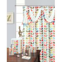 Mosaic Leaf Green Pink Polyester Fabric Shower Curtain Home Shower Curtains Of Item 104399588