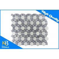 China Luxury Italy Grey Mixed White Waterjet Marble Mosaic Home Flooring Tile for Decorative on sale